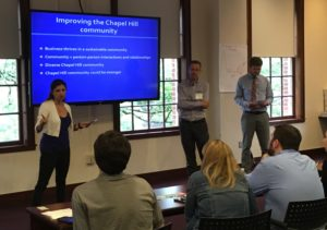 Jessica Taaffe, Scott Saxton and Trey Fowler pitch their plan to increase the sense of community in Chapel Hill.