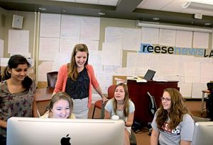 Students work on a product in the Reese NewsLab.