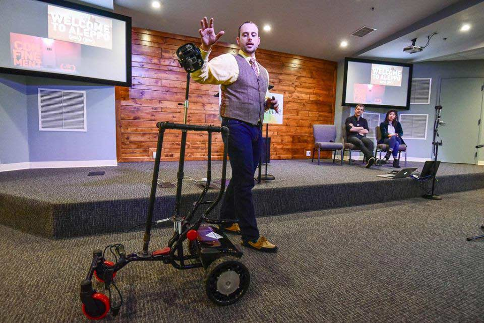 Professor Steven King presents his 360 degree video robot at Journalism Interactive. Photo courtesy of UF School of Journalism