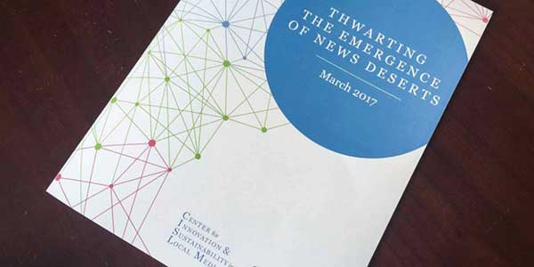 Thwarting the Emergence of News Deserts report cover